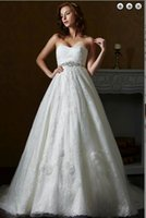 Wholesale Lace A Ling wedding dress Lace wedding dress Sexy wedding dresse Simple bead patterns Sheer wedding dresse