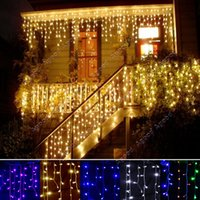 led christmas icicle lights - 3 m Droop m EU Plug Curtain Icicle String Lights V New Year Christmas LED Lights Garden Xmas Wedding Party SV011321