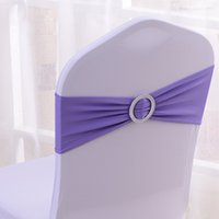 Wedding Chair / Bouquet Chair 100% Polyester yes Free Shipping 100PCS Wholesale-Hot Sale Lavender Spandex Bands Lycra Band Chair Covers Sash With Round Buckle Wedding Banquet CB-LA100
