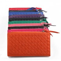 womens wallets - Leather Knitted Wallets Bi Fold Wallet with Zipper Bill Secure Inside Long High Storage Womens Clutch Wallet Hot Selling