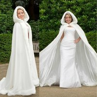 hooded cloak - High Quality Winter White Wedding Cloak Cape Hooded with Fur Trim Long Bridal Jacket