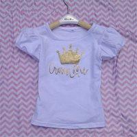 Wholesale Kids tshirt factory sale Girls T shirt Baby Girls Shirt Crown Girls Outfit Short Sleeve Top
