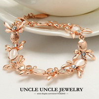 Women's bee link bracelet - 18K Rose Gold Plated High Quaity Rhinestone Opal Inlaid Lovely Bees Element For Love Style Lady Bracelet