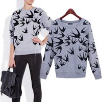 Wholesale 2015 Autumn Winter Women Sweatshirt Swallow Petrel Print Thickening Hoodies O Neck Loose Long Sleeve Pullover Sweater M XXL