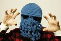 Wholesale 2015 Novelty Handmade Knitting Anti fog Haze Masks Wool Funny Beard Winter Octopus Hats caps Christmas Party Crocheted Beanies Unisex Gift