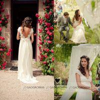 Wholesale 2015 Backless Lace Chiffon Garden Wedding Dresses Plus Size Cap Sleeve Empire V Neck Beads Sash Beach Bridal Party Maternity Gowns Custom