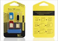 Wholesale Boa qualidade em Metal SIM Card adaptadores Micro SIM Stander cartão SIM cartão SIM ferramentas para o Iphone com caixa de