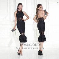 elegant dresses - 2015 Elegant Black Backless Formal Evening Gowns Tea Length Sheath Sheer Lace Slim Sleeveless Women Pageant Dress Party Long Prom Dresses