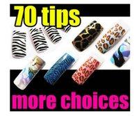 animal print nail - Acrylic French False Nail Art Tips Glitter Animal Print Fashion Patterns