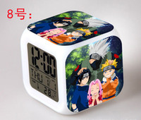 Wholesale Naruto toys LED touch multi function cartoon alarm clock seven color night watch New Hot Sale
