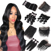 Wholesale 8 inch Brazilian Body Wave Bundles with Lace Frontal Peruvian Loose Deep Kinky Curly Human Hair Bundles with Closure Straight Water