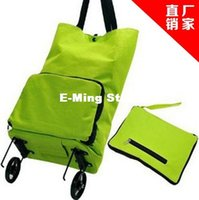 Wholesale High quality Green Convenient Dual Wheel Reusable Shopping Bags Oxford Cloth Rolling Folding extend Travel Bag Large Capacity