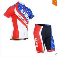 Wholesale 2016 New USA team Short Sleeves Cycling Jersey and cycling bib shorts sets Bike Cycling Shirt Ciclismo Clothes for Men