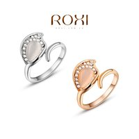 Cheap ROXI Fashion Rings Gold Plated Trendy Jewelry Wedding Gift Austrian Crystal Leaf Cat Eyes Opal Rings For Women 2010521215