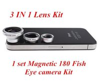 Wholesale 1 set Magnetic in Wide Angle Macro lens Fish Eye camera Kit Set for iPhone for HTC ipad Samsung android Mobile phone