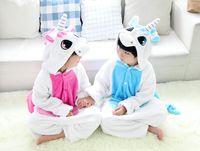 Wholesale Unicorn kigurumi animal onesies pijama entero mujer children winter flannel pajamas cut unisex coral fleece parent child nighwear jumpsuit
