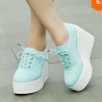 Wholesale New Spring Wedge espadrilles fashion platform heels leisure canvas shoes solid color sneakers