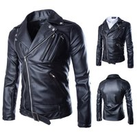 Wholesale 2015 new men leather jacket autumn winter fashion black lapel more zip coats casual cardigan jacket mens clothing