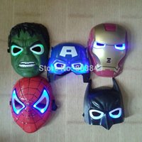 Wholesale 5pcs New The Hulk Captain America Batman Spiderman Ironman LED Glowing Party Mask Birthday Halloween Boy Gift