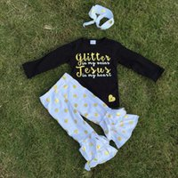 black jesus - fall winter clothes girls black glitter jesus sets gold polka dot ruffle pant set pant sets boutique outfits with headband