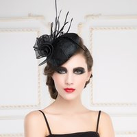 artistic photography - New Euramerican Artistic Linen big flower feather party pillbox hat For woman Female bridal Fedora for wedding photography