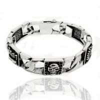fleur de lis - Blackened Vintage Sterling Silver Masculine bracelet for Men Jewelry Rebel at Heart symbols as Dragon Heart Fleur de lis Cross and Skull