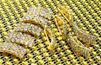 Wholesale glod Rhinestone bow Button Wedding decoration Bow Hair Accessories Metal Button metal button bag