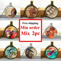american musical instruments - NS glass necklaces pendants music musical instruments pendant vintage violin jewelry glass dome necklace