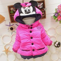 Wholesale New Hot Minnie Mouse Baby Kids Girls Winter Warm Outwear With A Hoodie Cotton padded Jackets Coat Cothes