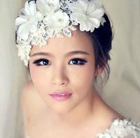 Wholesale High Grade Wedding head flower Accessories Luxury Handmade Crystal Lace pearl headdress hair accessories Princess bridal headdress jewelry