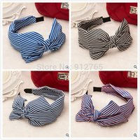 Headbands muti Asian & East Indian MisS Linda 2015 Korean Colorful Stripe hairaband for women oversized double bow silk cloth hairbands hair accessories 5 Pcs lot