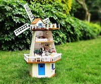 assembly manuals - Diy Doll House waiting for manual assembly rotating windmill villa wooden model building monsoon creative gift