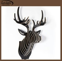 Wholesale hot sale D stickers Deer head DIY wood craft wooden crafts home wall decoration wood craft