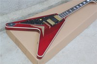 left hand - Factory Customzied Unusual Shaped Left handed Electric Guitar with Claret red Body and Gold Hardware and Can be Changed