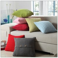 Wholesale 1pc x45cm European Vintage Cushion Cover Cotton Knitted Pillowcase Sofa Home Bed Button Decor Pillow Case Retails Sale No Fill