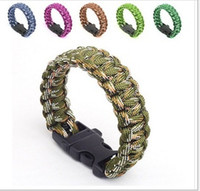 american emergency - 87 Colors Top Quality Outdoor Survival Bracelet Parachute Cord Emergency Paracord Camping Bracelet with Whistle Buckle