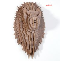 Wholesale Lion head for wall decor craft diy wood decor head animal wooden decorations wooden animals head wall carving wood wall lion mdf