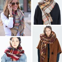 Wholesale 2016 Christmas Party Price Lady Blanket Oversized Tartan Scarf Wrap Shawl Plaid Cozy Checked Pashmina corlorful autumn winter scarves