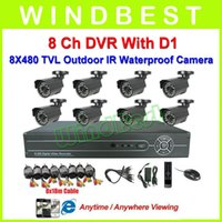Wholesale Freeshipping Ch H DVR Kit TVL Waterproof IR Cameras Ch D1 DVR Ch Security Surveillance Video CCTV Camera System