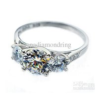 3 ct diamond ring - CT K white gold plated simulate diamond ring for women wedding band stones mount engagement ring promise ring for girl