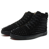 Wholesale New Arrival mens womens black matter leather with black spikes high top sneakers designer men causal sports shoes Drop shipping