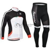 santini - Santini team Winter thermal fleeced clothes long sleeve cycling jersey pants bike bicycle wear set