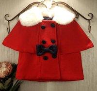 fabric korea - 2014 Winter new arrival Korea chilren hot sale thick fur collar cape red chrismas woolen fabric bow poncho