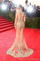 beyonce dresses - Beyonce MET Gala Sheer Sexy Prom Dresses Luxury Party Evening Gowns Sparkly Crystals Floor Length Long Sleeve Backless