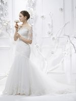Wholesale 2015 New style Sweep Train Bateau Mermaid Wedding Dress with made by Satin and Lace Custom made