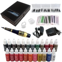 Wholesale Eyebrow Kit Permanent Makeup Machine Tattoo Power Supply Ink Needle Tip EK707