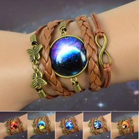 american moment - Vintage Womens Fashion Jewelry stall time Star Moon Time Gemstone Pendant leather Chain Bracelet Vintage butterfly bracelet magic moments