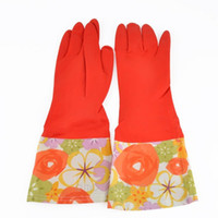 Wholesale Hot Rubber Mitts Kitchen Gloves Long Natural Rubber Latex Liquid Proof Flower Lint Gloves Home AccessoriesY57 JJ0083 M5