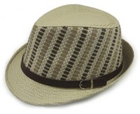 Wholesale Sun Hat Bulk - Wholesale-Wholesale New Mens Plaid Paper Straw Fedoras Hats Women Summer Fedoras Caps Men Sun Straw Cap Womens Fashion Hat In Bulk China