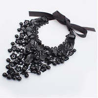 Wholesale Fashion Lace collar necklaces Ribbon Gem Stone Round Beads Ball Pendant Necklaces Bohemia Choker Necklaces Chain necklace Women Jewelry